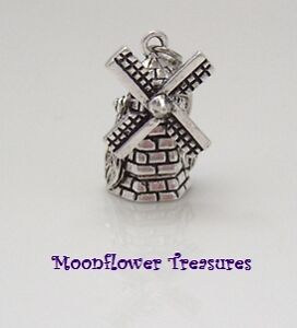 Tibetan Silver 3D Dutch Windmill Clip on Charm