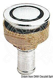 Chrome Flush Elbow - OSCULATI Fuel Vent Chromed Brass Flush Mount Elbow 90 Degrees Left 16 mm