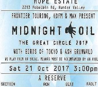 Midnight Oil tickets, 21st Oct Hunter Valley