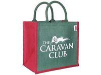 CARAVAN CLUB LEATHER HANDBOOK COVER & JUTE BAG - NEW