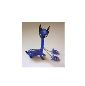 Vintage Cobalt Blue Blown Glass Mom Dog with 2 Puppies