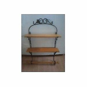 Wrought Iron and Wood Decorative Shelf