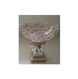 Vintage Crystal Gold Candy Dish/Bowl Brass Metal & Marble Base