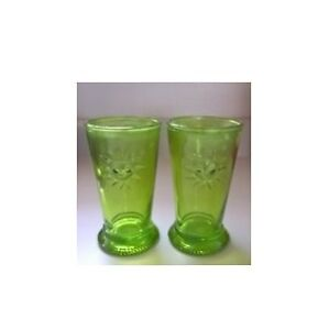 Green Footed Drinking Glass with Sun Depression