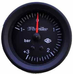 Manometro PRESSIONE TURBO Analogico Diffusione -1 +3 bar NERO Road Italia 60 mm