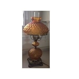 Vintage Fenton Amber Quilted Glass Hurricane Table Lamp