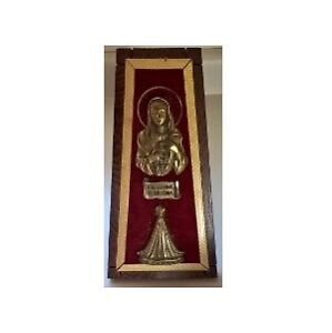 Vintage Peltro Cesellato A Mano Religious Pewter Virgin Mary