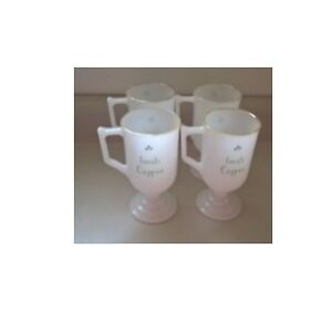 Vintage Milk Glass Irish Coffee Mugs Set of 4
