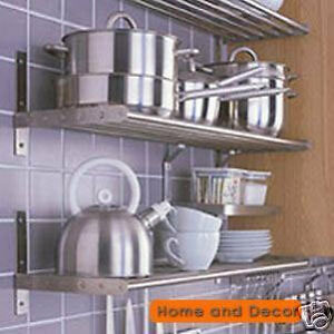 IKEA-Stainless-Steel-Kitchen-Pots-Pans-Rack-Wall-Shelf-GRUNDTAL