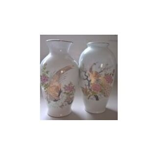 Japanese Porcelain Vases with Peacocks and Pheasants