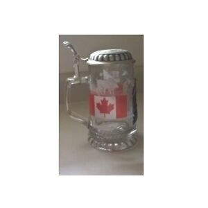 Canada Glass Beer Stein with German Pewter Lid