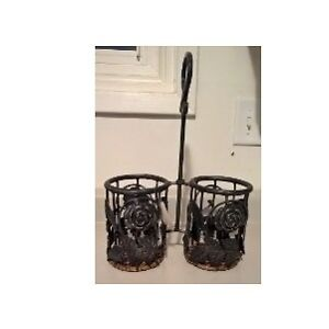 Wrought Iron Floral 2 Bottle Wine Holder