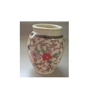 Chinese Tea Caddy Chinoserie Colorful Birds, Flowers, Leaves