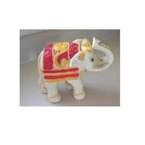 Ivory Color Resin Elephant Figurine with Trunk Up