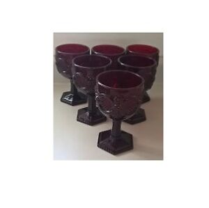 Vintage Large Avon Ruby Red Goblets 1876 Cape Cod Collectible