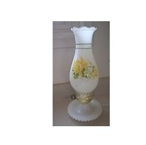 Vintage Antique Hand Painted Milk Glass Hurricane Lamp Yellow