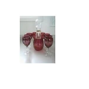 Bohemian Crystal Ruby Cut to Clear Eteched Glass Decanter set