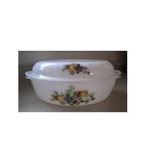 "Vintage Arcopal Milk Glass Casserole Dish ""Fruits de France"""