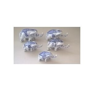 Vintage Porcelain Blue & White Elephants Delft Figurine