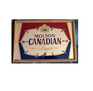 MOLSON CANADIAN LAGER BEER CLOCK MIRROR SIGN