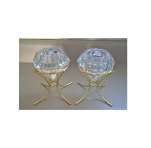 Party-lite Lead Crystal Solitaire Diamond Candle Holders & Stand