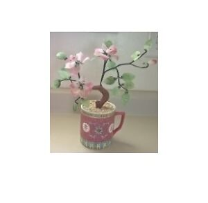 Famille Rose Red Porcelain Mug with Glass Bonsai Ming Tree