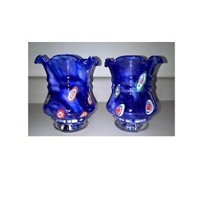 Cobalt Blue with Millefiori Small Vase / Candle Holders