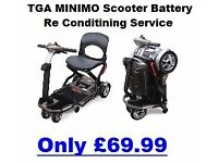 TGA Minimo Mobility scooter Battery Service and Li-ion upgrade service.