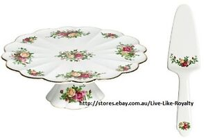 NEW ROYAL ALBERT 30CM CAKE PLATE STAND & MATCHING SERVER OLD COUNTRY ROSE