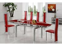 Extending Glass Dining Table With 8 Leather Chairs