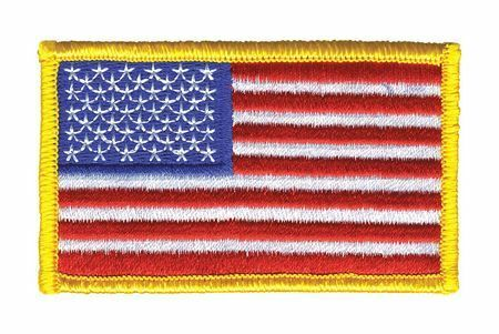HEROS PRIDE 0001HP U.S. Flag, Embroidered Patch, Medium, Gold