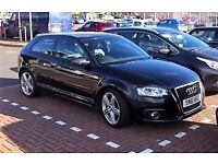 Audi A3 S Line 3dr Hatch. Black/black half leather. new MOT, ECONOMY with sparkling performance.