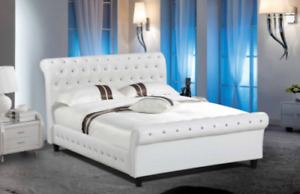 QUEEN OR KING SLEIGH BED IN BONDED LEATHER WITH DIAMONDS
