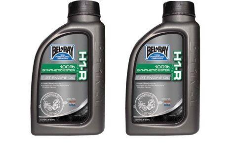 2 Bel-Ray H1-R Racing 100% Synthetic Ester 2-Stroke Oil 1 Liter bottles