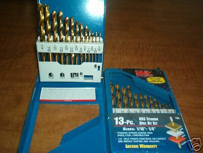 16 Split Point Drill Bit (MIT 13pc HSS SPLIT POINT TITANIUM DRILL BIT SET SIZES 1/16