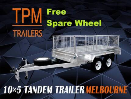 10x5 10x6 Tandem Trailers Hot Dip Gal Electric Brakes with Cage