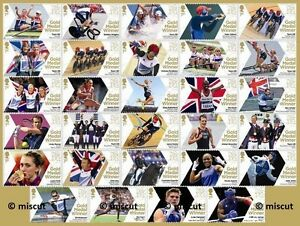 Olympic Gold Medal Winners 2012 - Complete set of all 29 Olympic mint stamps