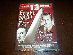 Fright Night-10 Old Horror Films on 3 dvds-Black and White