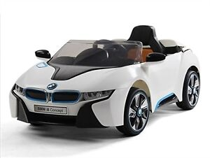 Licensed 12V BMW I8 Child Ride-On Car w Remote Leather Seat more