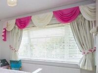 Cream and Hot Pink Swags and Tails Blackout Lined Curtians