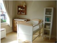 Mamas and papas Savanah nursery furniture cot bed, wardrobe and book case, very good condition.