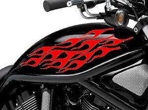 2 X Flame Fuel Tank Fire Vinyl Motorcycle Motor Decal Stickers Motorbike Bike 6