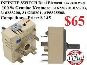 316238201 replaces: 2026203, 316238200, 316238201, AP5325508 INFINITE SWITCH Dual element 13 A WHIRLPOOL 100 % Genuine