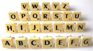 BRAND NEW SCRABBLE CUFFLINKS - ALL INITIALS AVAILABLE - FREE P&P + ORGANZA BAG