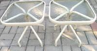 Two Patio Side Tables, Steel Frame and Tempered Glass