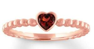 0.95ct Heart Genuine Garnet Solitaire Ring Rose Gold 14KT