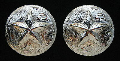 "2 - 1 3/4"" Silver Hand Engraved Conchos w/ Star - Headstall  Saddle"
