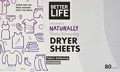 Better Life Natural Dryer Sheets, Unscented, 80