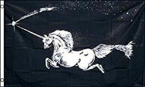 Unicorn Black Flag 3x5 Polyester Magical Whimsical