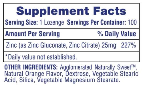 Chewable Hi Tech Zinc Lozenges 25mg - 50mg Orange Flavor IMMUNITY SUPPORT FLU  1